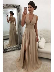 Beaded Chiffon V-Neck Long Prom Dresses Formal Evening Dresses 996021676