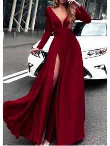A-Line Long Sleeves V-Neck Long Prom Dresses Formal Evening Dresses 996021702