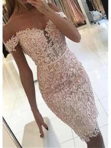 Elegant Short Lace Off-the-Shoulder Prom Dress Formal Evening Dresses 996021717