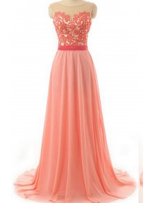 A-Line Illusion Necline Lace Chiffon Prom Dresses Party Evening Gowns 99602378