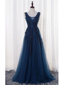 A-Line Lace Appliques Long Blue Prom Dresses Party Evening Gowns 99602383