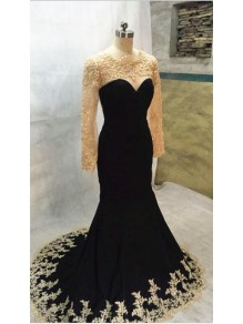 Long Black Mermaid Gold Lace Appliques Long Sleeves Prom Dresses Party Evening Gowns 99602405