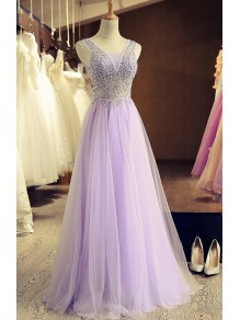 A-Line Beaded Lilac Tulle Prom Dresses Party Evening Gowns 99602407