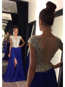 Long Blue Beaded Prom Dresses Party Evening Gowns 99602446