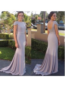 Mermaid Cap Sleeves Beaded Long Prom Dresses Party Evening Gowns 99602448