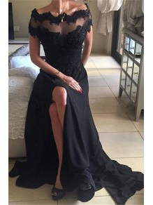Long Black Illusion Neckline Lace Chiffon Prom Dresses Party Evening Gowns 99602481