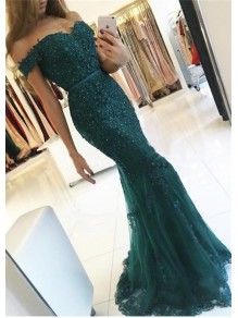 Mermaid Off-the-Shoulder Lace Long Prom Evening Dresses 99602586