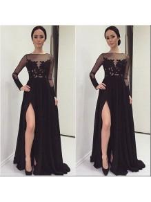 Long Black Lace Chiffon Prom Evening Party Dresses 99602622