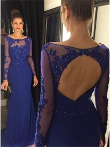 Mermaid Long Sleeves Blue Keyhole Back Lace Prom Evening Formal Dresses 99602729