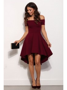High Low Off-the-Shoulder Short Prom Homecoming Cocktail Graduation Dresses 99602862