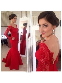 Mermaid Long Red Lace Long Sleeves Prom Formal Evening Party Dresses 99602883