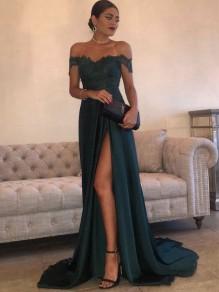 Elegant Dark Green Off-the-Shoulder Floor-Length High Side Split Lace Long Prom Evening Dresses 99602941