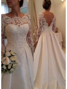 A-Line Long Sleeves Lace V-Back Wedding Dresses Bridal Gowns 99603006