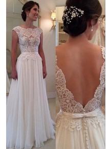 Lace Appliques Bodice Chiffon Low V-Back Wedding Dresses Bridal Gowns 99603007