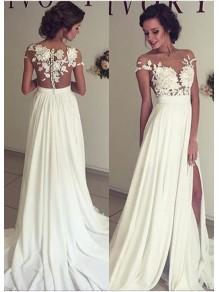 Lace Appliques Bodice Chiffon Split Wedding Dresses Bridal Gowns 99603016