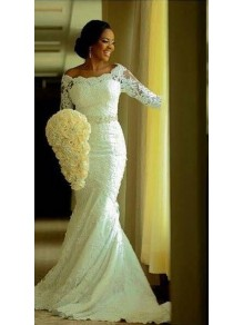 Elegant Mermaid 3/4 Length Sleeves Lace Plus Size Wedding Dresses Bridal Gowns 99603020