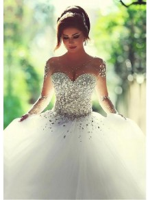Long Sleeves Sheer Crystal Wedding Dresses Bridal Gowns 99603033