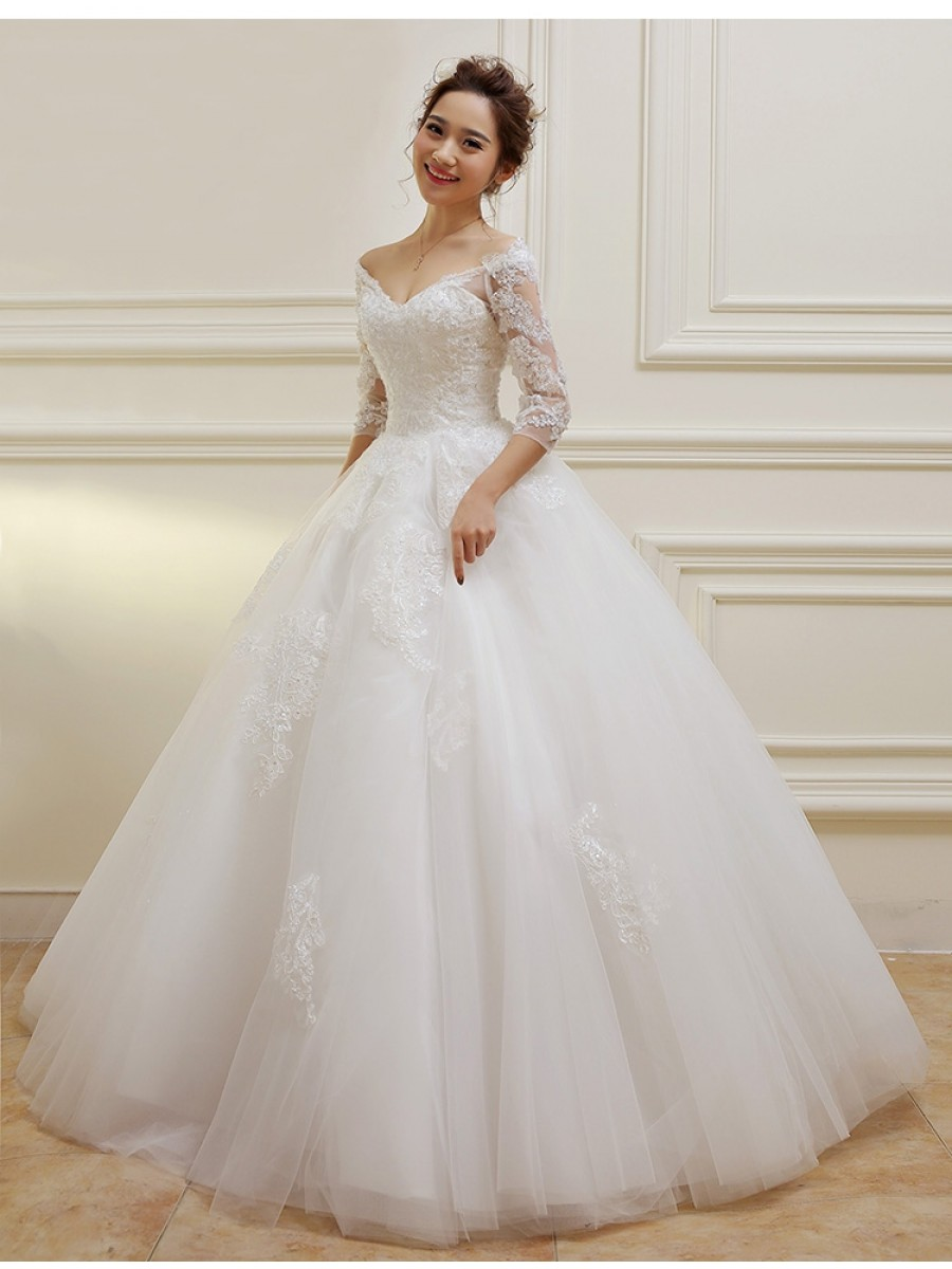 20/20 Length Sleeves V Neck Lace Wedding Dresses Bridal Gowns 996020108