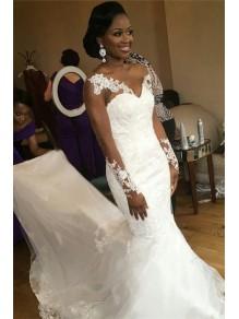 Long Sleeves Lace Mermaid Sheer Wedding Dresses Bridal Gowns 99603245