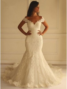 Lace Mermaid Off-the-Shoulder Wedding Dresses Bridal Gowns 99603314