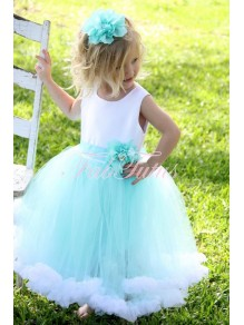Cute Ball Gown Blue White Flower Girl Dresses 99604003