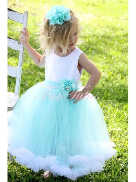 Cute Ball Gown Blue White Flower Girl Dresses 99604003