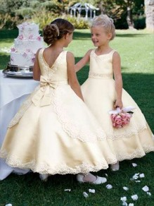 Gold Satin Lace Appliques Flower Girl Dresses 99604012