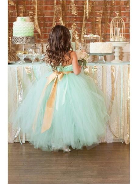 Mint Green Ball Gown Flower Girl Dresses 99604018