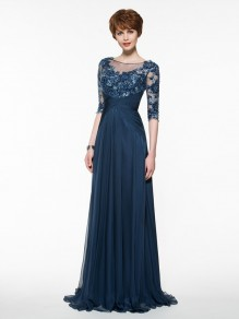 Half Sleeves Illusion Neckline Lace Appliques Chiffon Mother of The Bride Dresses 99605005