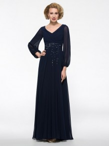 Long Sleeves V-Neck Chiffon Mother of The Bride Dresses 99605016