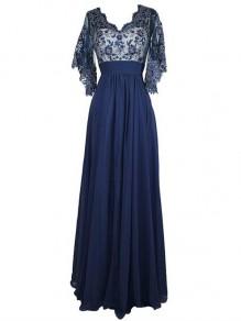Long Blue V-Neck Lace Chiffon Long Mother of The Bride Dresses 99605037