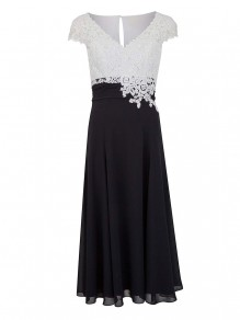 A-Line V-Neck Lace and Chiffon Tea-Length Mother of The Bride Dresses 99605041