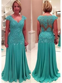 Elegant Chiffon Lace Appliques V-Neck Mother of The Bride and Groom Dresses 99605044