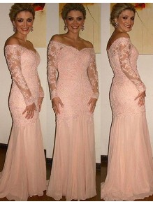 Long Sleeves Off-the-Shoulder Lace Mother of The Bride and Groom Dresses 99605049