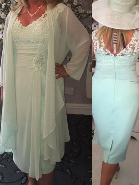 Affordable V-Neck Lace Chiffon Mother of The Bride and Groom Dresses 99605052