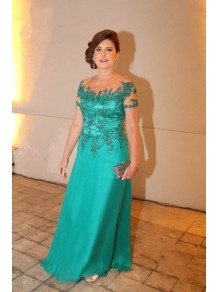Short Sleeves Lace Appliques Mother of The Bride and Groom Dresses 99605062