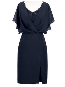 Beaded Chiffon V-Neck Mother of The Bride and Groom Dresses 99605063
