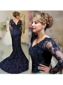 Mermaid V-Neck Lace Long Sleeves Mother of The Bride and Groom Dresses 99605064