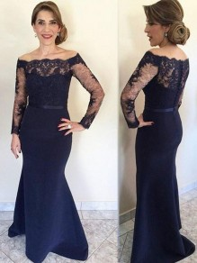 Mermaid Long Sleeves Lace Mother of The Bride and Groom Dresses 99605066