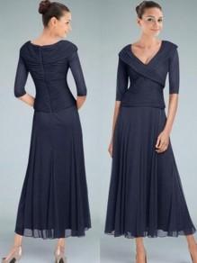 A-Line V-Neck Tea Length Mother of The Bride Dresses 99605093