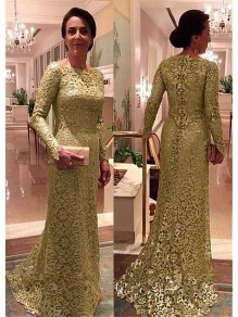 Mermaid Long Sleeves Lace Long Mother of The Bride Dresses 99605101