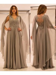 Long Chiffon Mother of The Bride Dresses with Lace Appliques 99605113