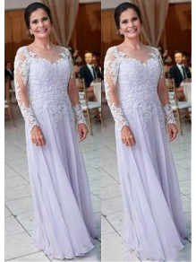 A-Line Long Sleeves Chiffon Mother of The Bride Dresses 99605122