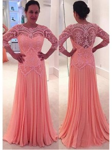 A-Line Lace Chiffon Long Mother of The Bride Dresses 99605127