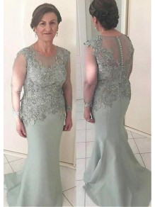 Mermaid Long Sleeves Mother of The Bride Dresses with Beaded and Lace Appliques 99605131