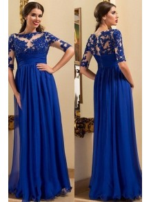 A-Line Long Mother of The Bride Dresses with Lace Appliques 99605137