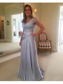 Elegant Chiffon Lace V-Neck Long Mother of The Bride Dresses 99605140