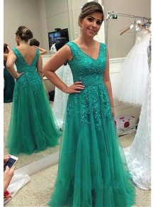 A-Line Tulle V-Neck Long Mother of The Bride Dresses with Beads and Lace Appliques 99605142