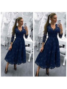 A-Line Tea Length V-Neck Mother of The Bride Dresses with Beads and Lace Appliques 99605143