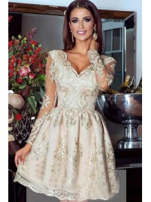 Short Lace Long Sleeves Prom Dress Homecoming Dresses Graduation Party Dresses 99701007